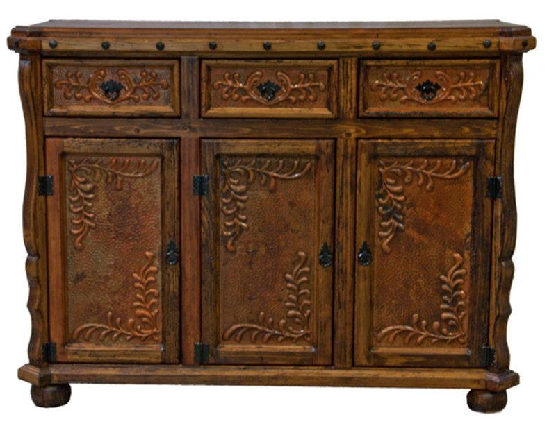 Old Wood Rustic Copper Credenza