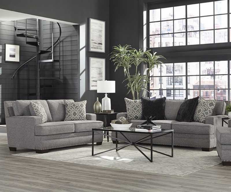 Toni Living Room Set in Grey