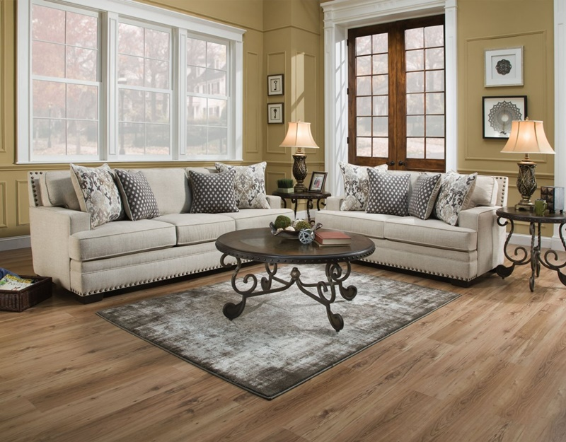 Toni Living Room Set in Oyster