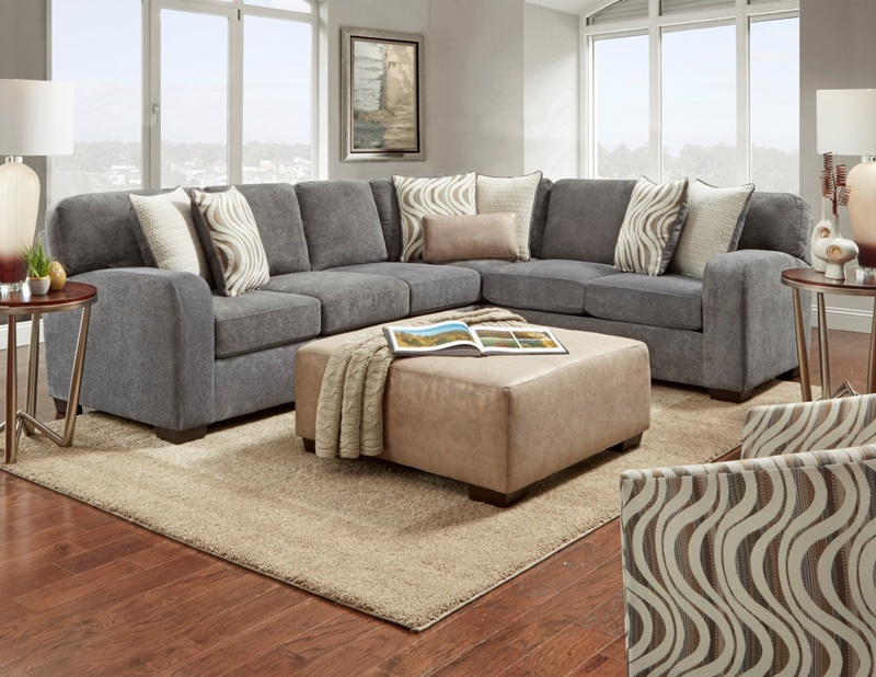 Chandler Sectional Sofa in Steel