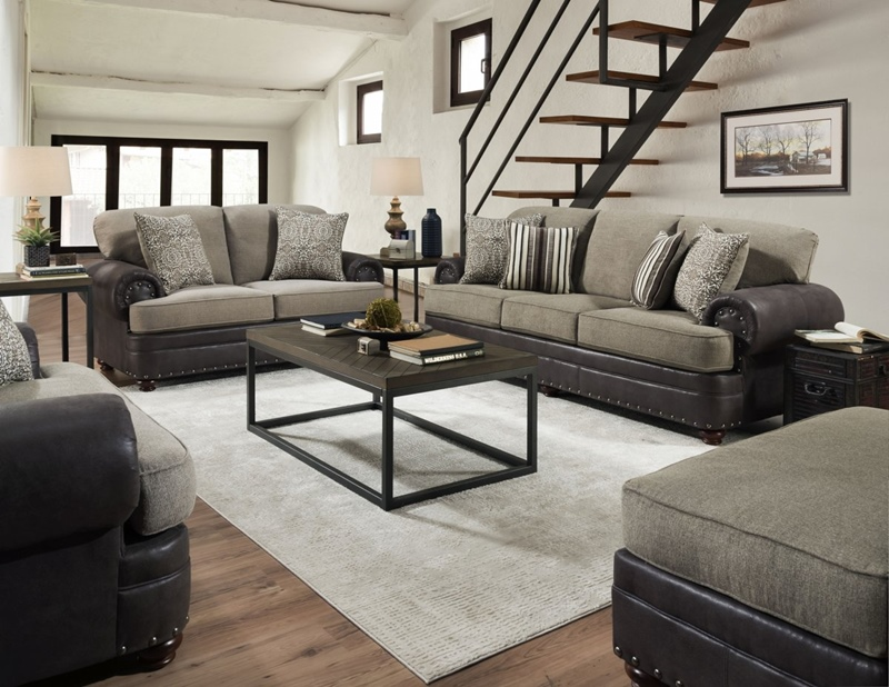 Marco Living Room Set in Grey