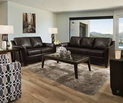 Soft Touch Leather Living Room Set in Bark