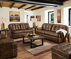 Soft Touch Leather Living Room Set in Chaps
