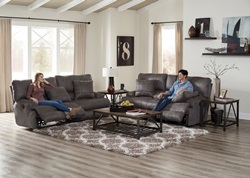 Monaco Reclining Living Room Set in Charcoal