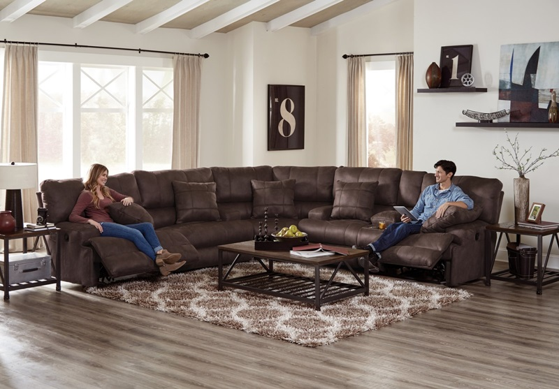 Monaco Reclining Sectional in Chocolate