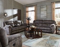Carrington Reclining Living Room Set in Greystone
