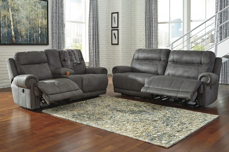 Austere Grey Reclining Living Room Set