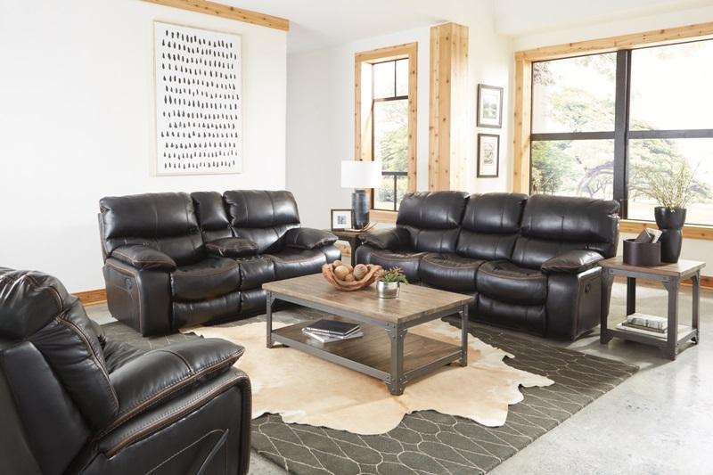 Camden Reclining Living Room Set in Black
