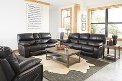 Camden Reclining Living Room Set in Black