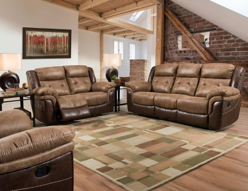 Bonanza Rustic Style Two-Tone Brown Reclining Sofa Set