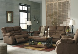 Tulen Reclining Living Room Set in Chocolate