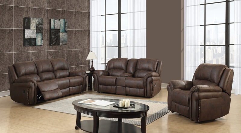 Wrangler Reclining Living Room Set in Chocolate