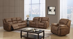 U0903 Reclining Living Room Set in Saddle