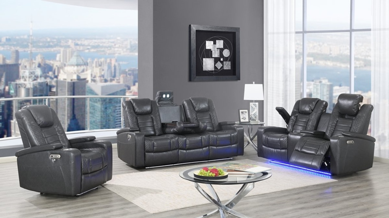 Grey Transformer Reclining Living Room Set
