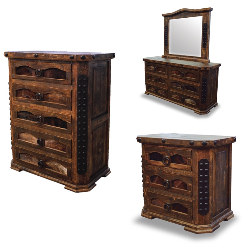 Alamo Complete 6 Piece Rustic Bedroom Set with Cowhide Accents