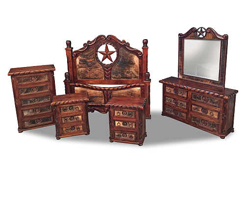 Lone Star Cowhide 6 Piece Rustic Bedroom Set