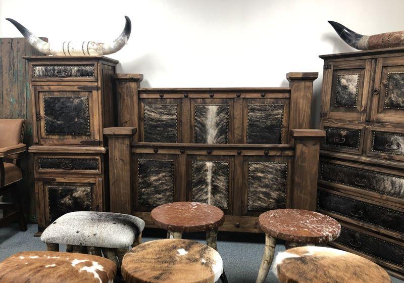 Western Rustic Cowhide 6 Piece Bedroom Set