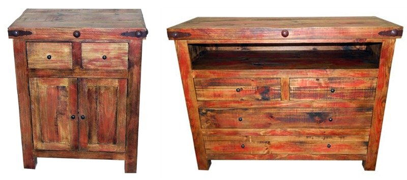 #02 2 56 55 50 Red Rubbed Rustic Bedroom Set