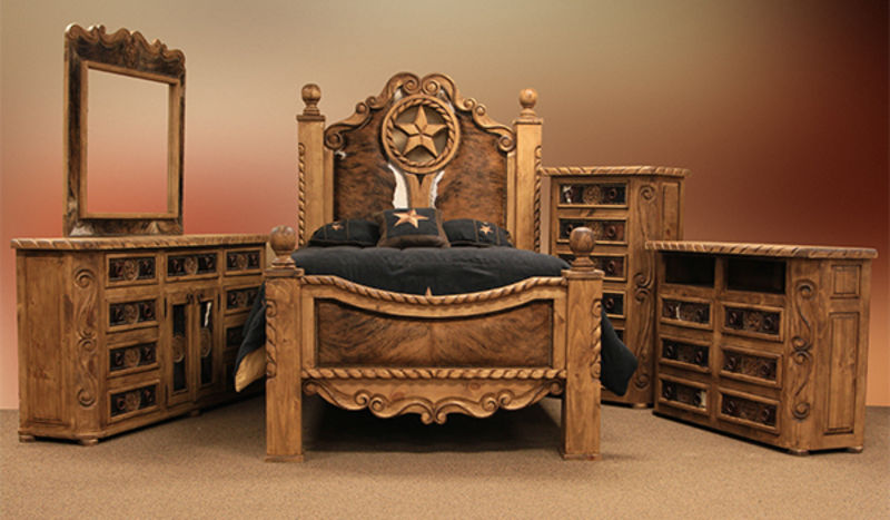 Rope And Star Rustic Bedroom Set With Cowhide Accents