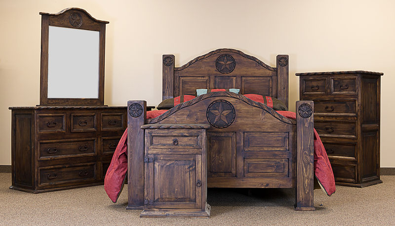 Rope and Star Rustic Bedroom Set with Medio Finish