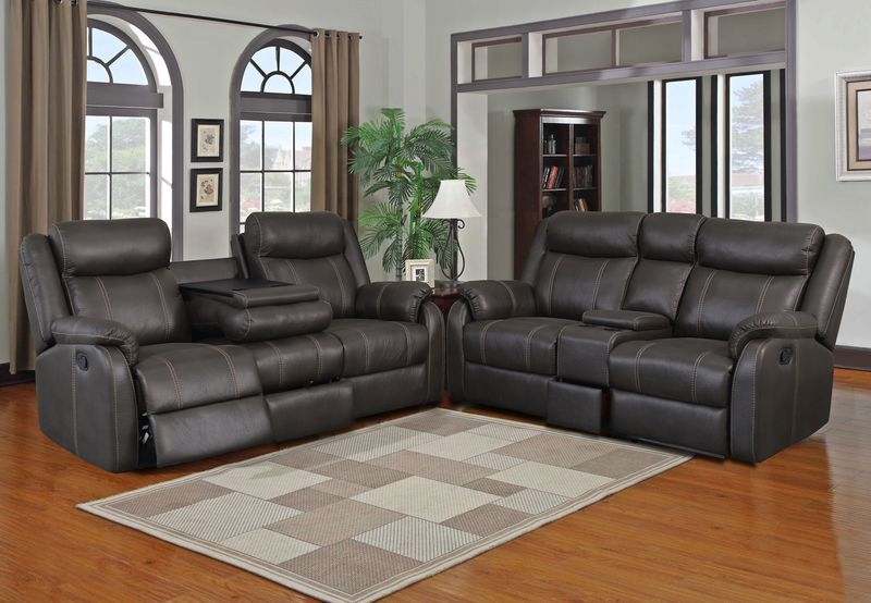 Rummy Reclining Living Room Set in Charcoal