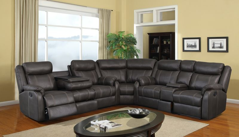 Rummy Reclining Sectional in Charcoal