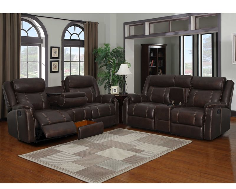 Rummy Reclining Living Room Set in Mocha