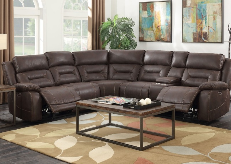 Aria Reclining Sectional Sofa in Saddle Brown