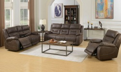 Aria Reclining Living Room Set in Saddle Brown