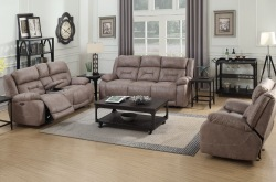 Aria Reclining Living Room Set in Desert Sand