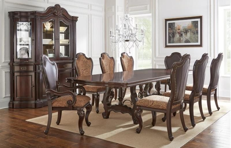 Angelina Formal Dining Room Set with Double Pedestal Table