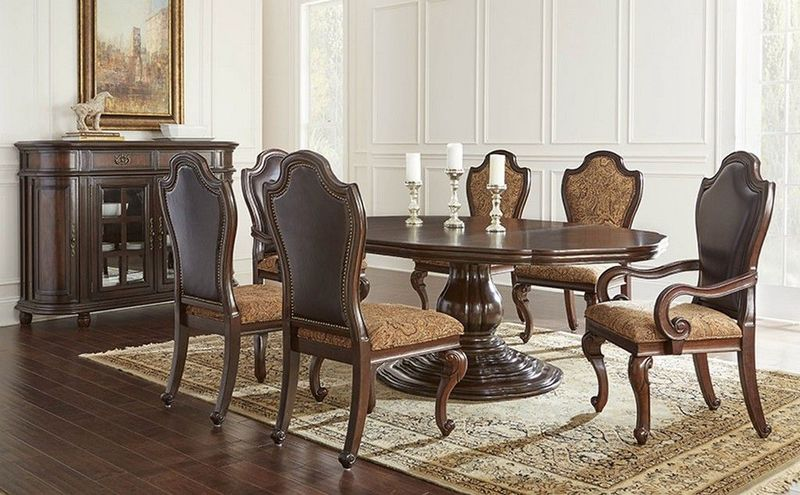Angelina Formal Dining Room Set with Single Pedestal Table