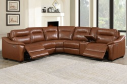 Casa 6 Piece Leather Reclining Sectional Sofa