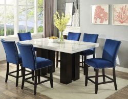 Camila Counter Height Dining Room Set with Blue Chairs