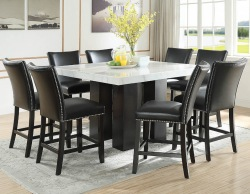 Camila Counter Height Square Dining Room Set with Black Chairs