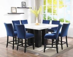 Camila Counter Height Square Dining Room Set with Blue Chairs