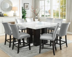 Camila Counter Height Square Dining Room Set with Silver Chairs