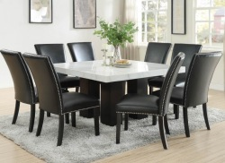 Camila Square Dining Room Set with Black Chairs
