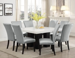 Camila Square Dining Room Set with Silver Chairs