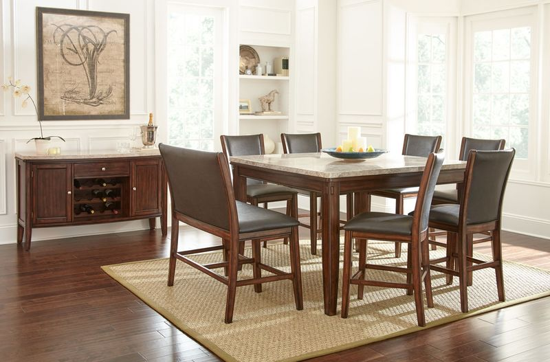 Steve Silver | EE5454PT Eileen Marble Top Counter Height Dining Room Set |  Dallas Designer Furniture