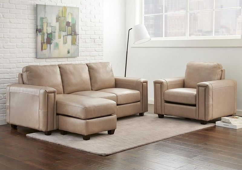 Fayette Leather Sofa with Floating Chaise