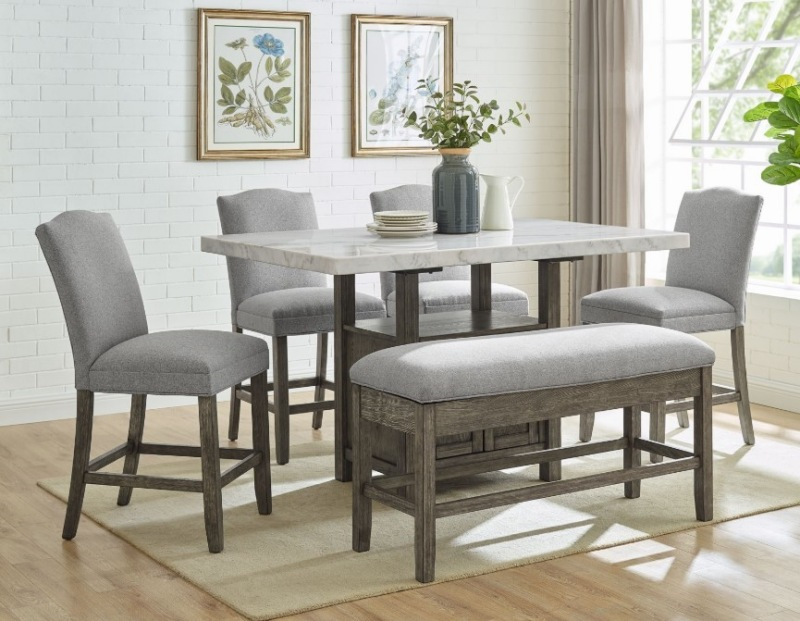 Steve Silver Gs640wmt Grayson Counter Height Dining Room Set With Storage Bench