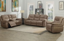 Isabella Reclining Living Room Set in Sand