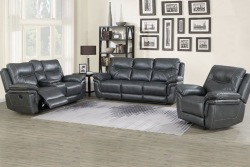 Isabella Reclining Living Room Set in Gray