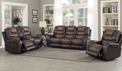 Park Avenue Reclining Living Room Set in Brown