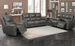 Laurel Leather Reclining living Room Set in Gray