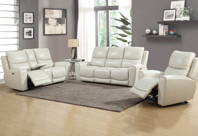 Laurel Leather Reclining living Room Set in Ivory