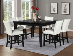 Markina Counter Height Square Dining Room Set with White Chairs