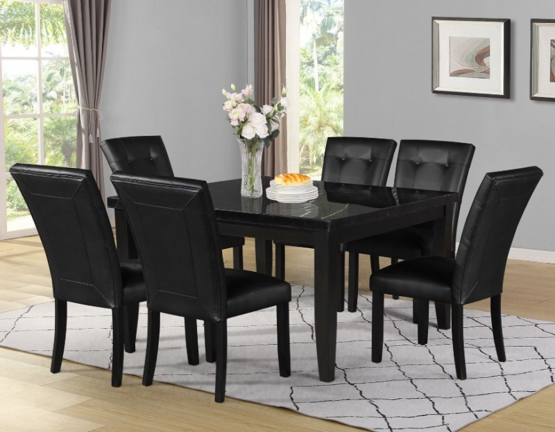 Steve Silver Mk5454mt Markina Square Dining Room Set With Black Chairs