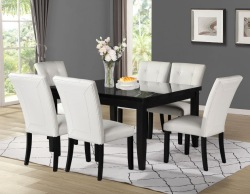 Markina Square Dining Room Set with White Chairs
